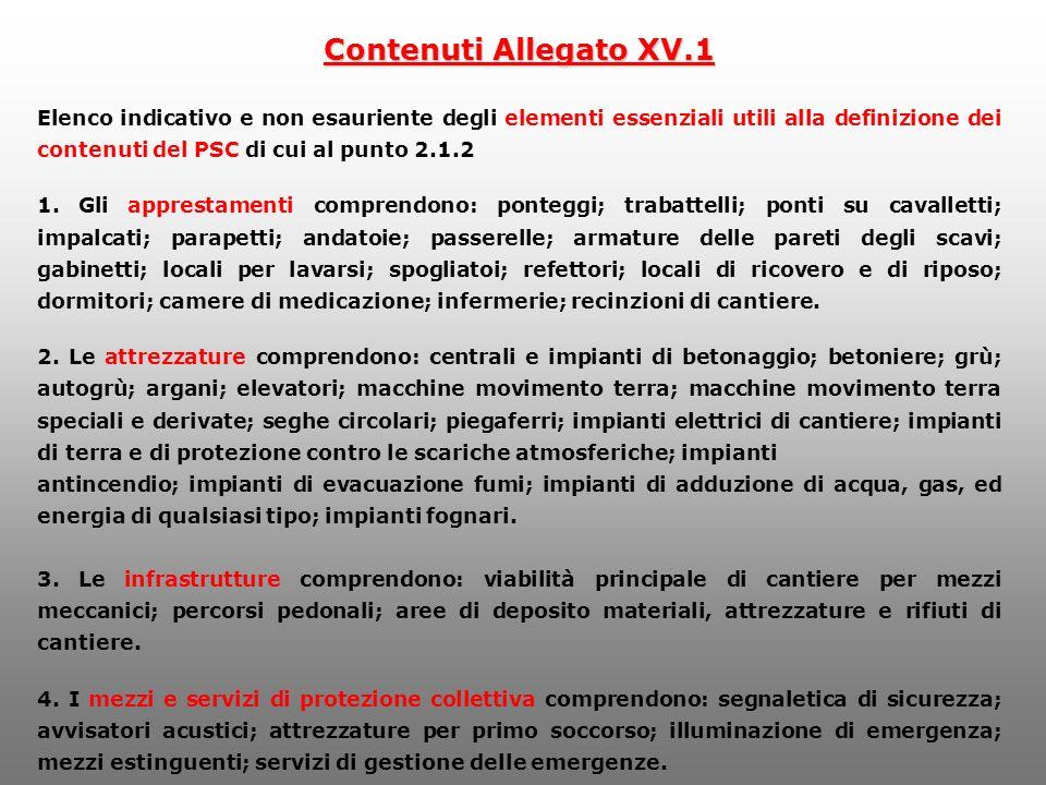 Contenuti Allegato XV.1 Elenco indicativo e non esauriente degli elementi essenziali utili alla definizione dei contenuti del PSC di cui al punto 2.1.