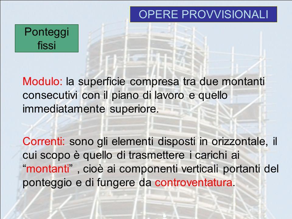 Modulo: la superficie compresa tra due montanti consecutivi con il piano di lavoro e quello immediatamente superiore. Correnti: sono gli elementi disp