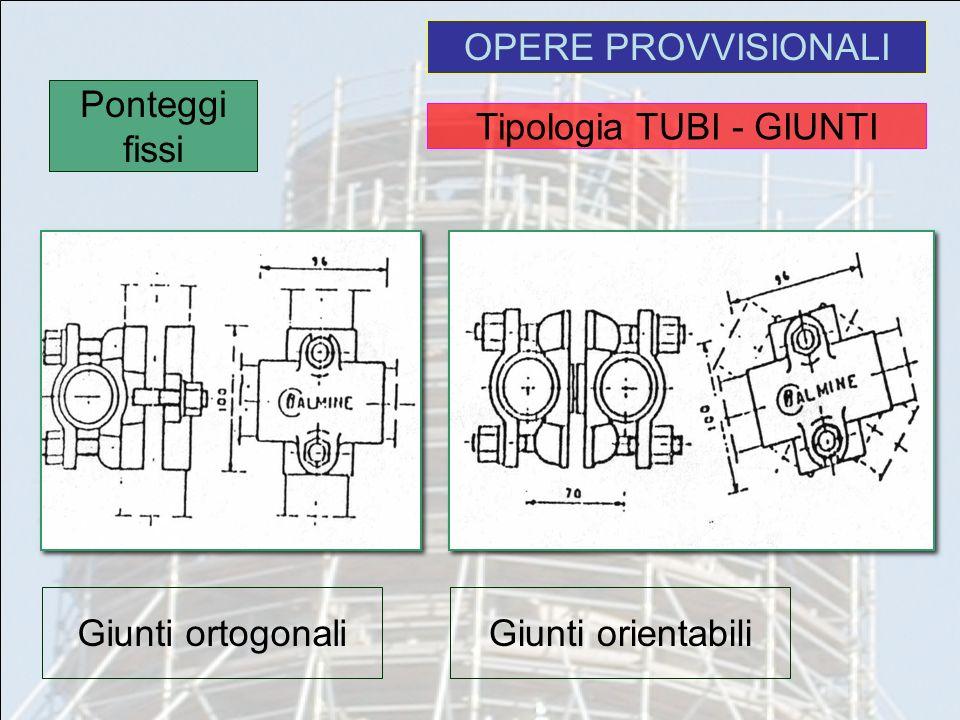 OPERE PROVVISIONALI Ponteggi fissi Giunti ortogonaliGiunti orientabili Tipologia TUBI - GIUNTI