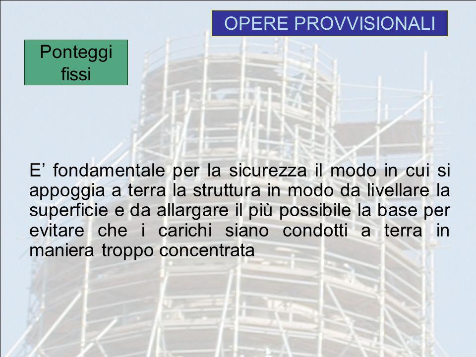 OPERE PROVVISIONALI E fondamentale per la sicurezza il modo in cui si appoggia a terra la struttura in modo da livellare la superficie e da allargare