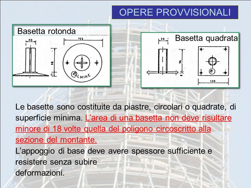 OPERE PROVVISIONALI Le basette sono costituite da piastre, circolari o quadrate, di superficie minima. Larea di una basetta non deve risultare minore