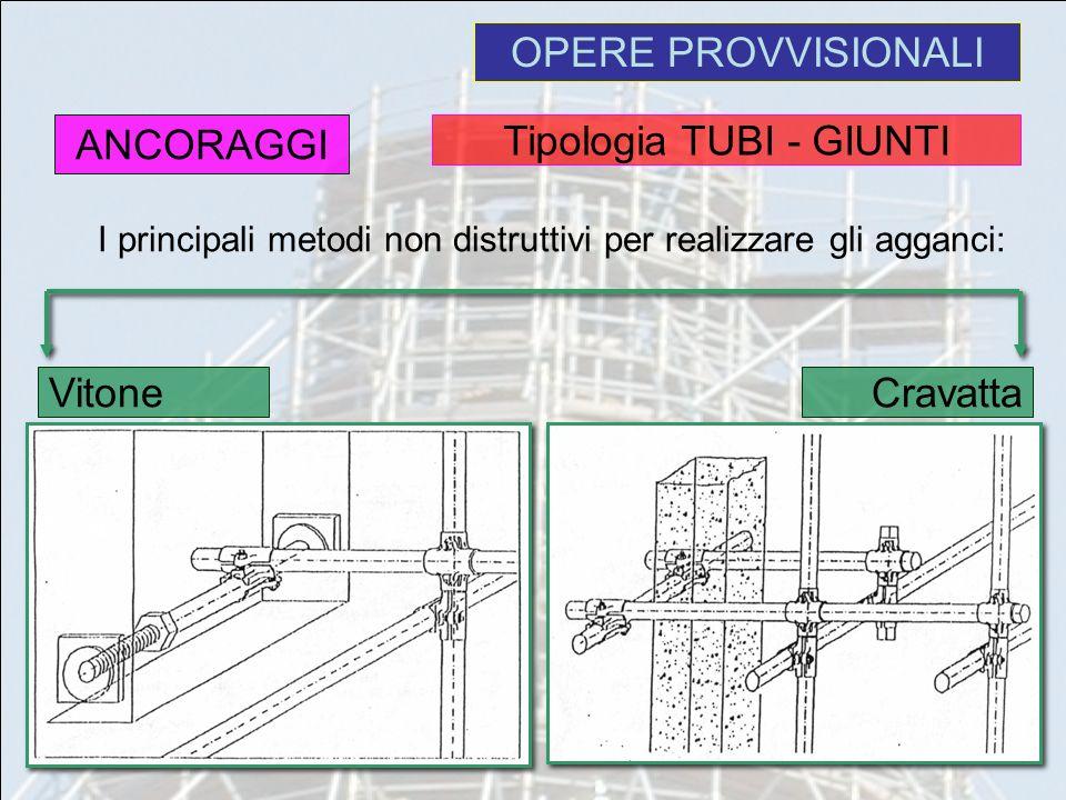 OPERE PROVVISIONALI I principali metodi non distruttivi per realizzare gli agganci: ANCORAGGI Cravatta Vitone Tipologia TUBI - GIUNTI