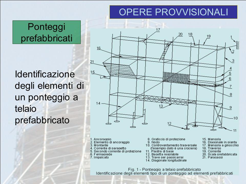 Identificazione degli elementi di un ponteggio a telaio prefabbricato OPERE PROVVISIONALI Ponteggi prefabbricati