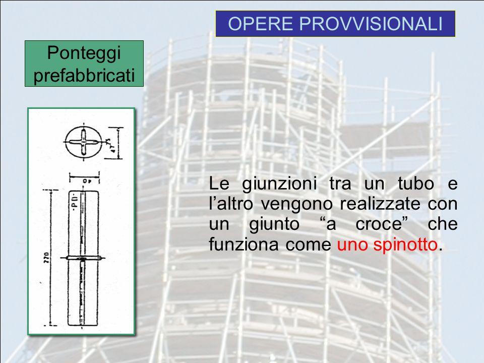 OPERE PROVVISIONALI Le giunzioni tra un tubo e laltro vengono realizzate con un giunto a croce che funziona come uno spinotto. Ponteggi prefabbricati