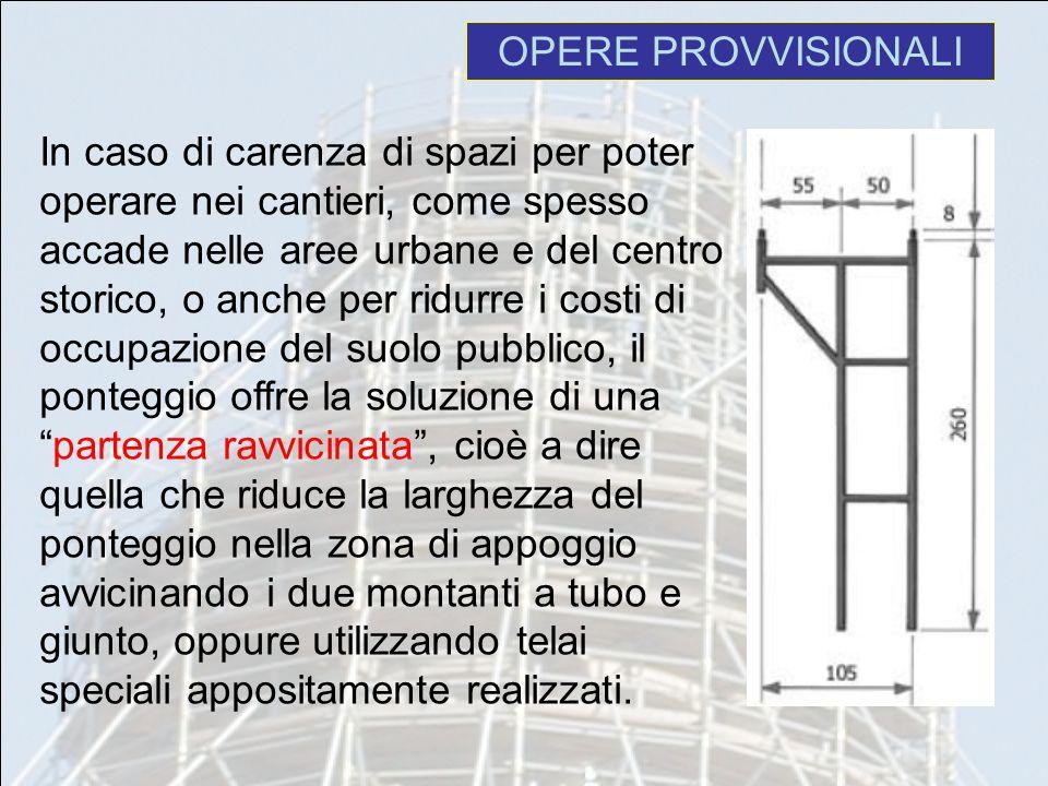 OPERE PROVVISIONALI In caso di carenza di spazi per poter operare nei cantieri, come spesso accade nelle aree urbane e del centro storico, o anche per