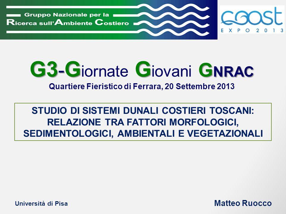 G3 - G G G NRAC G3 - G iornate G iovani G NRAC Quartiere Fieristico di Ferrara, 20 Settembre 2013 STUDIO DI SISTEMI DUNALI COSTIERI TOSCANI: RELAZIONE TRA FATTORI MORFOLOGICI, SEDIMENTOLOGICI, AMBIENTALI E VEGETAZIONALI Matteo Ruocco Università di Pisa