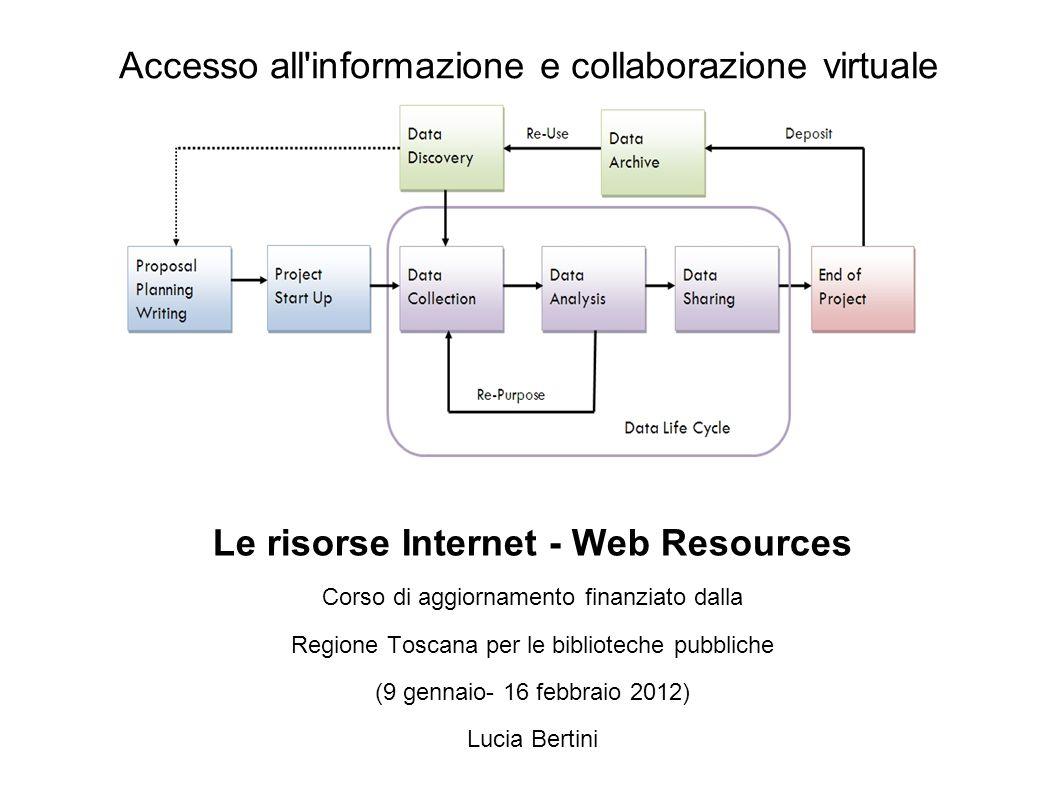 Accesso all informazione e collaborazione virtuale Le risorse Internet - Web Resources Corso di aggiornamento finanziato dalla Regione Toscana per le biblioteche pubbliche (9 gennaio- 16 febbraio 2012) Lucia Bertini