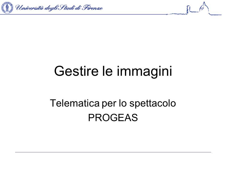 Gestire le immagini Telematica per lo spettacolo PROGEAS
