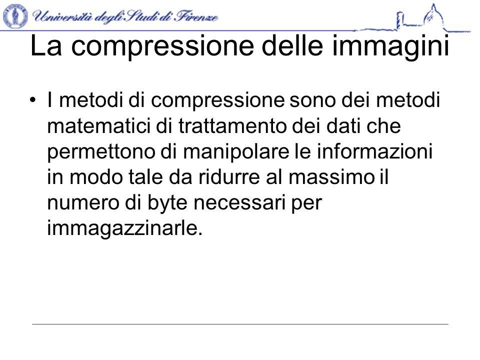 La compressione delle immagini I metodi di compressione sono dei metodi matematici di trattamento dei dati che permettono di manipolare le informazioni in modo tale da ridurre al massimo il numero di byte necessari per immagazzinarle.