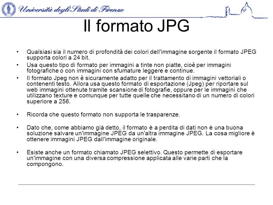 Il formato JPG Qualsiasi sia il numero di profondit à dei colori dell immagine sorgente il formato JPEG supporta colori a 24 bit.