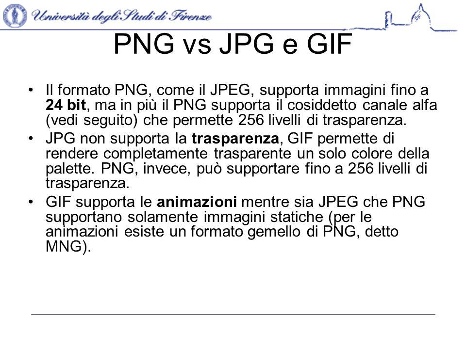 PNG vs JPG e GIF Il formato PNG, come il JPEG, supporta immagini fino a 24 bit, ma in più il PNG supporta il cosiddetto canale alfa (vedi seguito) che permette 256 livelli di trasparenza.