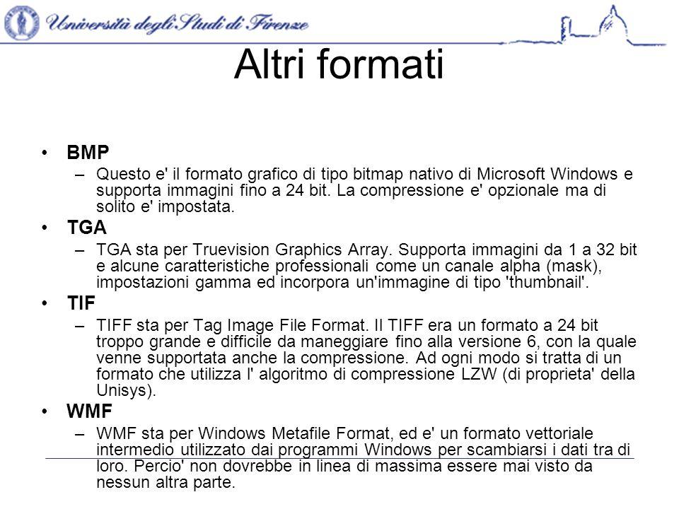 Altri formati BMP –Questo e il formato grafico di tipo bitmap nativo di Microsoft Windows e supporta immagini fino a 24 bit.