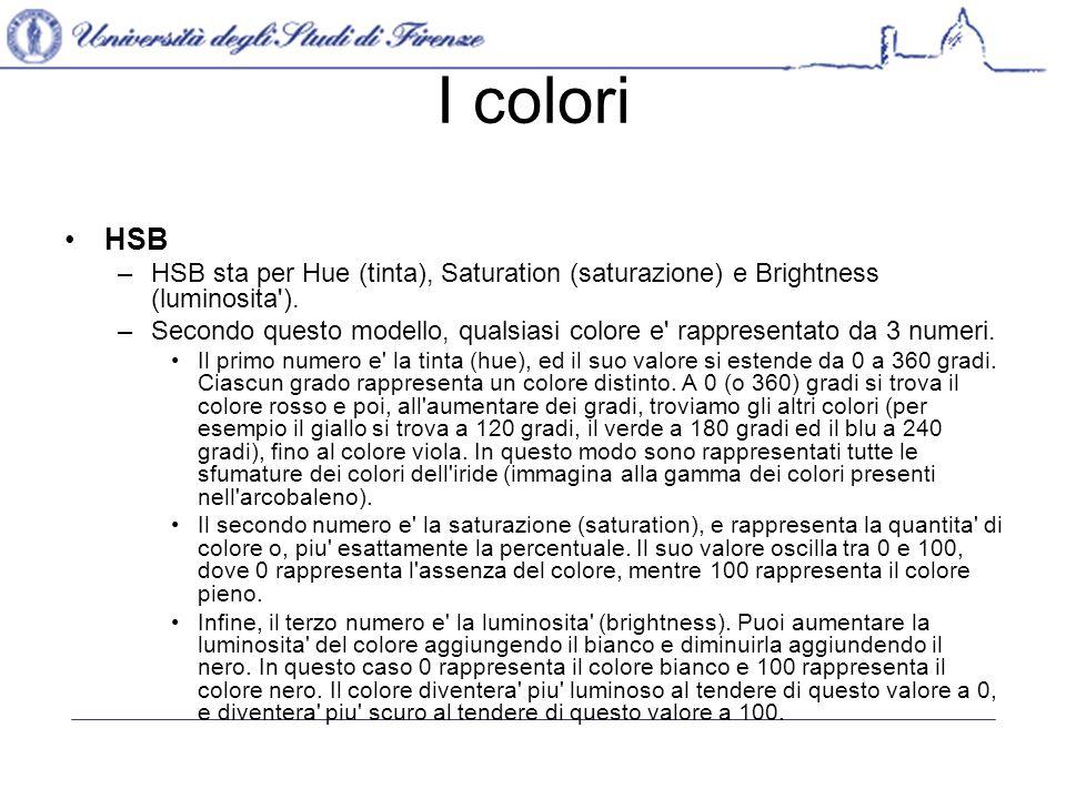 I colori HSB –HSB sta per Hue (tinta), Saturation (saturazione) e Brightness (luminosita ).