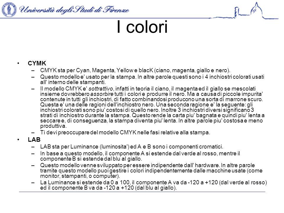 I colori CYMK –CMYK sta per Cyan, Magenta, Yellow e blacK (ciano, magenta, giallo e nero).