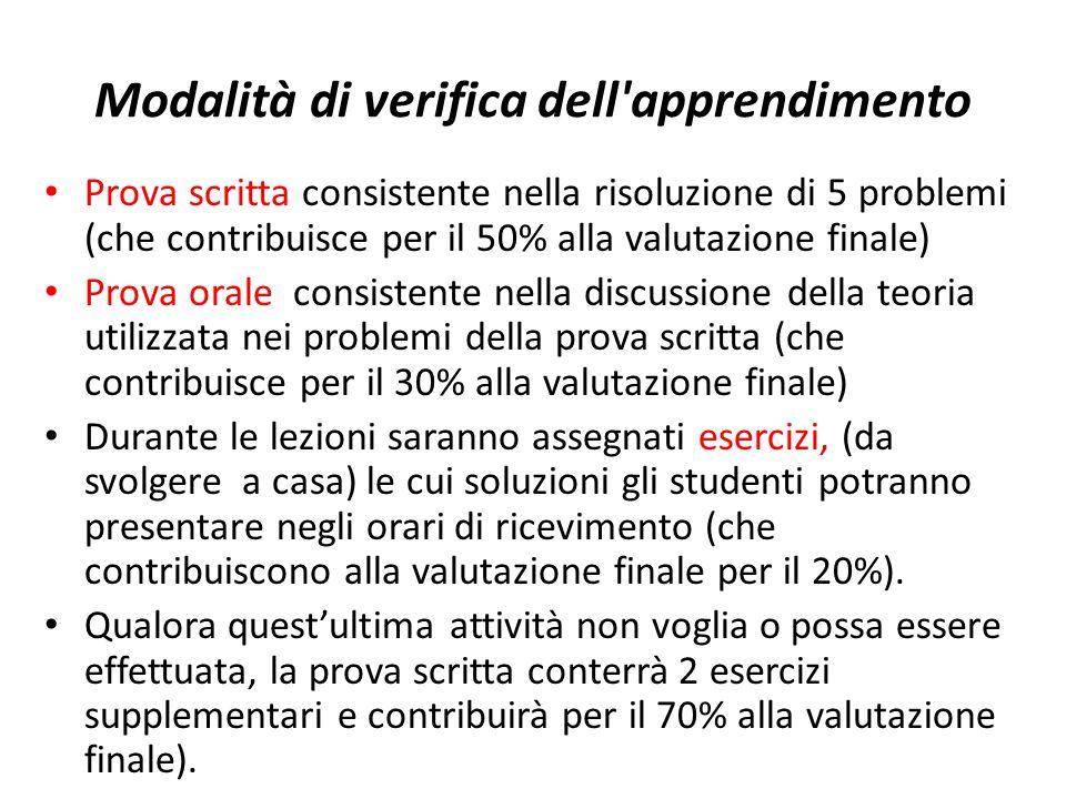Modalità di verifica dell'apprendimento Prova scritta consistente nella risoluzione di 5 problemi (che contribuisce per il 50% alla valutazione finale