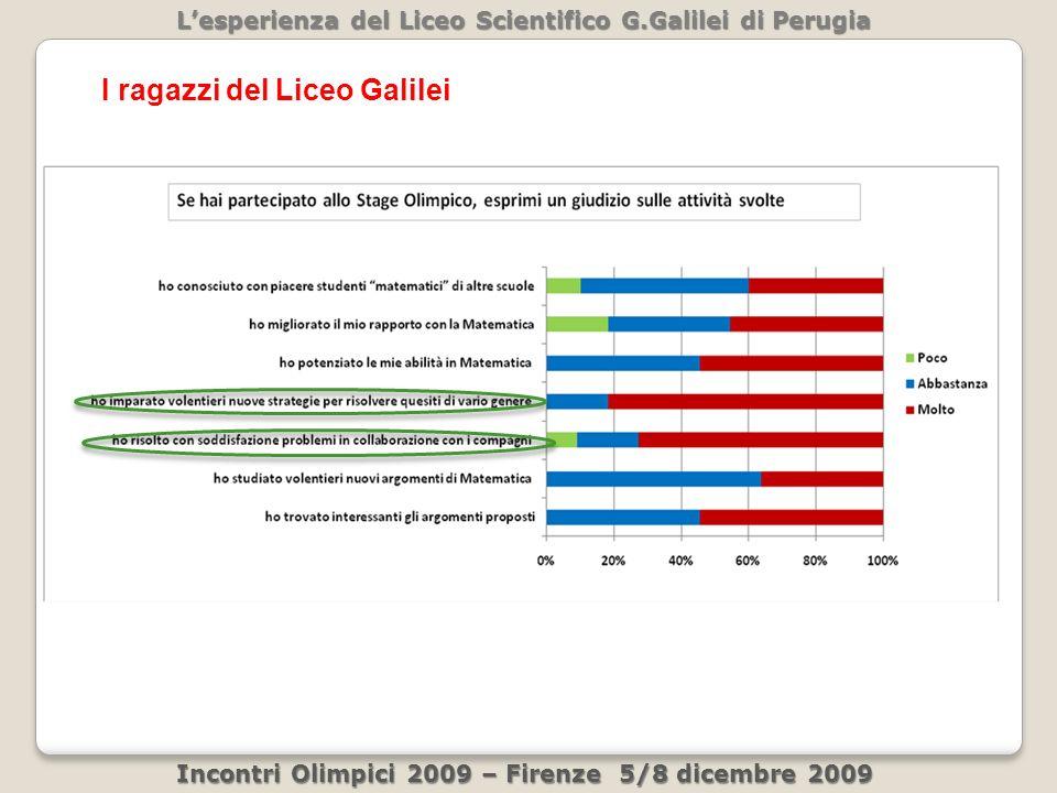 Lesperienza del Liceo Scientifico G.Galilei di Perugia Incontri Olimpici 2009 – Firenze 5/8 dicembre 2009 I ragazzi del Liceo Galilei