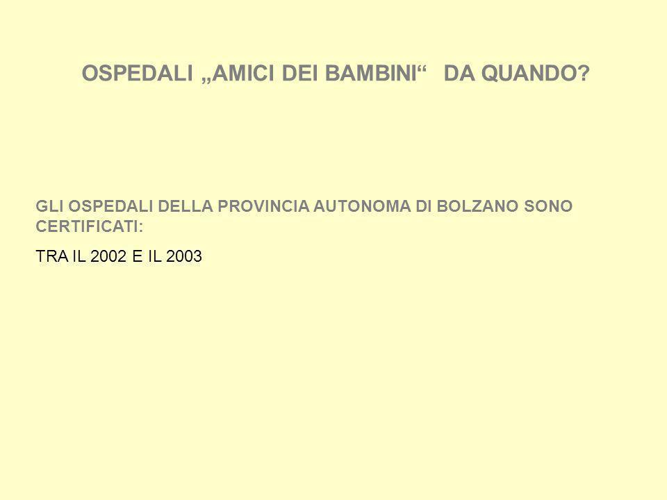 OSPEDALI AMICI DEI BAMBINI DA QUANDO? GLI OSPEDALI DELLA PROVINCIA AUTONOMA DI BOLZANO SONO CERTIFICATI: TRA IL 2002 E IL 2003