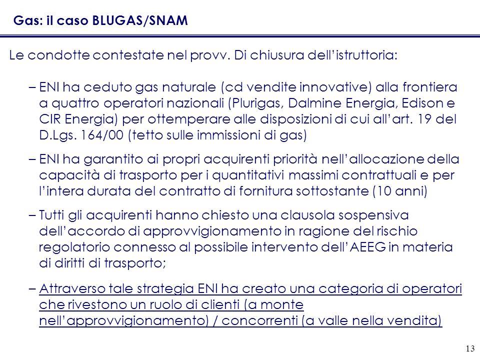 13 Gas: il caso BLUGAS/SNAM Le condotte contestate nel provv. Di chiusura dellistruttoria: –ENI ha ceduto gas naturale (cd vendite innovative) alla fr