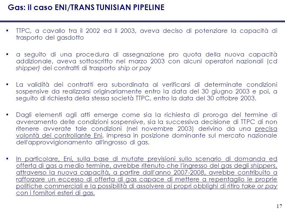 17 Gas: il caso ENI/TRANS TUNISIAN PIPELINE TTPC, a cavallo tra il 2002 ed il 2003, aveva deciso di potenziare la capacità di trasporto del gasdotto a seguito di una procedura di assegnazione pro quota della nuova capacità addizionale, aveva sottoscritto nel marzo 2003 con alcuni operatori nazionali (cd shipper) dei contratti di trasporto ship or pay La validità dei contratti era subordinata al verificarsi di determinate condizioni sospensive da realizzarsi originariamente entro la data del 30 giugno 2003 e poi, a seguito di richiesta della stessa società TTPC, entro la data del 30 ottobre 2003.
