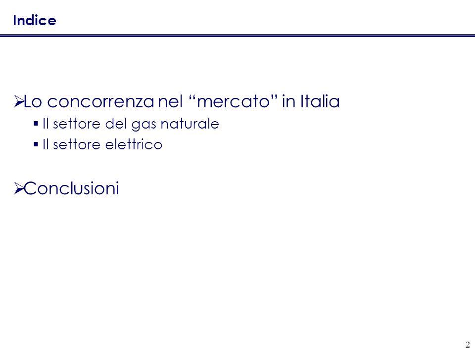2 Indice Lo concorrenza nel mercato in Italia Il settore del gas naturale Il settore elettrico Conclusioni