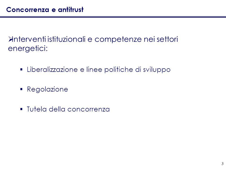 3 Concorrenza e antitrust Interventi istituzionali e competenze nei settori energetici: Liberalizzazione e linee politiche di sviluppo Regolazione Tutela della concorrenza