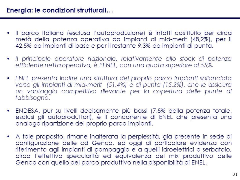 31 Energia: le condizioni strutturali… Il parco italiano (esclusa lautoproduzione) è infatti costituito per circa metà della potenza operativa da impianti di mid-merit (48,2%), per il 42,5% da impianti di base e per il restante 9,3% da impianti di punta.