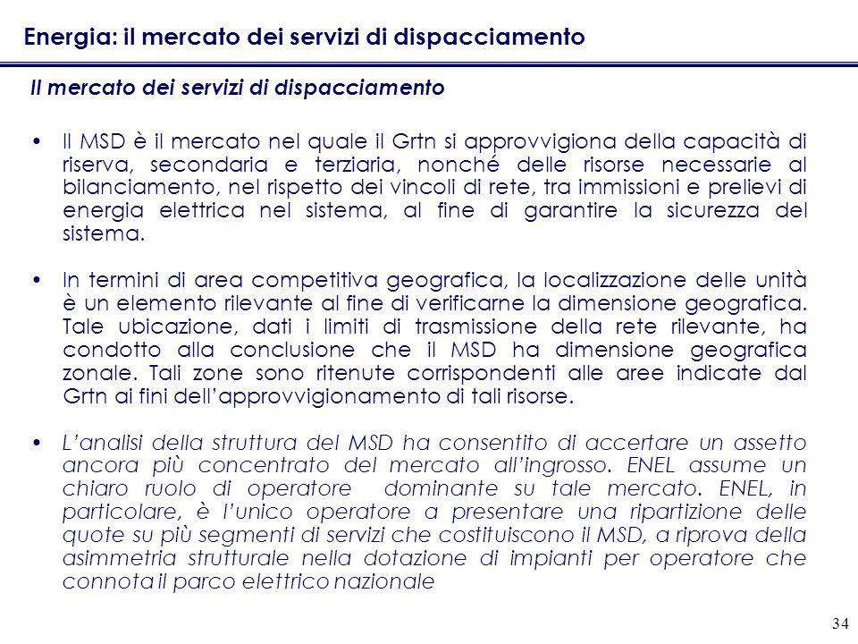 34 Energia: il mercato dei servizi di dispacciamento Il mercato dei servizi di dispacciamento Il MSD è il mercato nel quale il Grtn si approvvigiona d