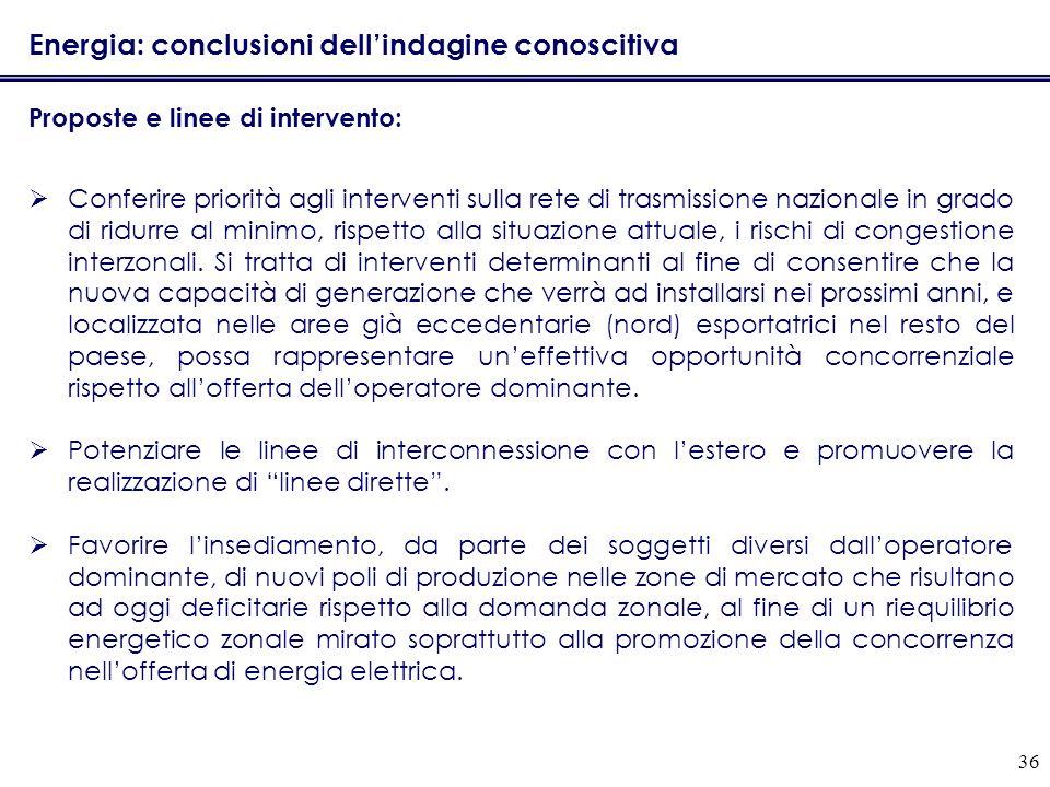 36 Energia: conclusioni dellindagine conoscitiva Proposte e linee di intervento: Conferire priorità agli interventi sulla rete di trasmissione naziona