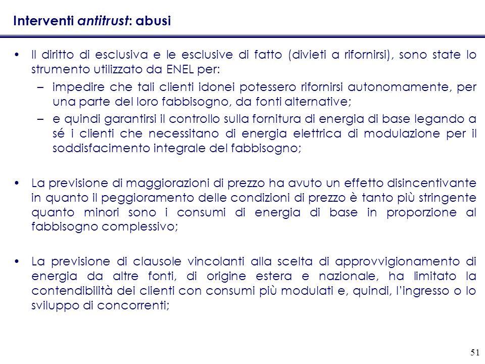 51 Interventi antitrust : abusi Il diritto di esclusiva e le esclusive di fatto (divieti a rifornirsi), sono state lo strumento utilizzato da ENEL per