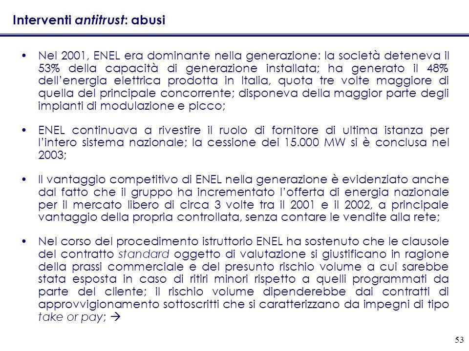 53 Interventi antitrust : abusi Nel 2001, ENEL era dominante nella generazione: la società deteneva il 53% della capacità di generazione installata; h