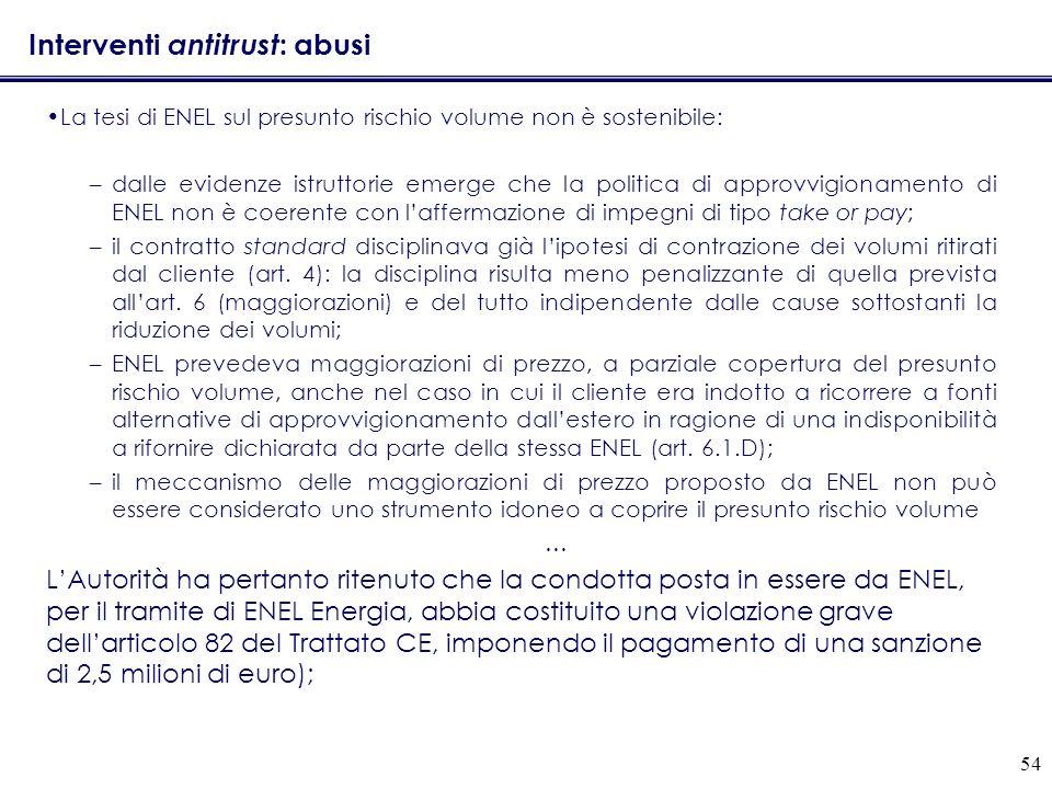 54 Interventi antitrust : abusi La tesi di ENEL sul presunto rischio volume non è sostenibile: –dalle evidenze istruttorie emerge che la politica di a