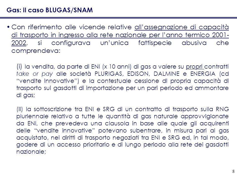 8 Gas: il caso BLUGAS/SNAM Con riferimento alle vicende relative allassegnazione di capacità di trasporto in ingresso alla rete nazionale per lanno te