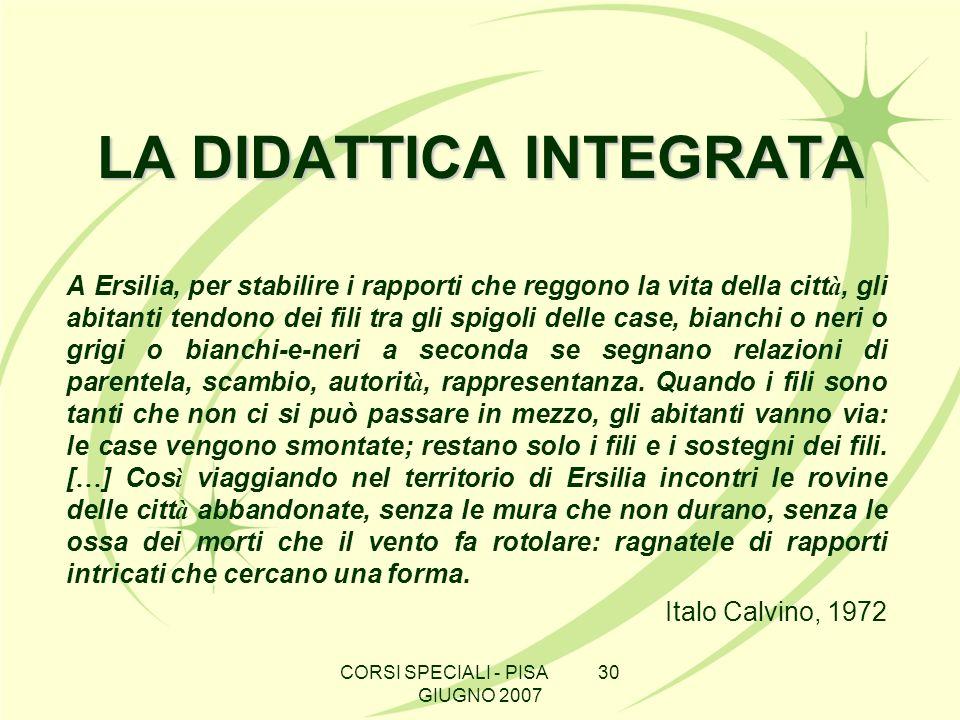 CORSI SPECIALI - PISA 30 GIUGNO 2007 LA DIDATTICA INTEGRATA A Ersilia, per stabilire i rapporti che reggono la vita della citt à, gli abitanti tendono