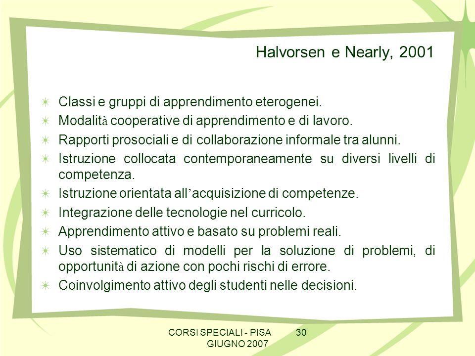 CORSI SPECIALI - PISA 30 GIUGNO 2007 Halvorsen e Nearly, 2001 Classi e gruppi di apprendimento eterogenei. Modalit à cooperative di apprendimento e di