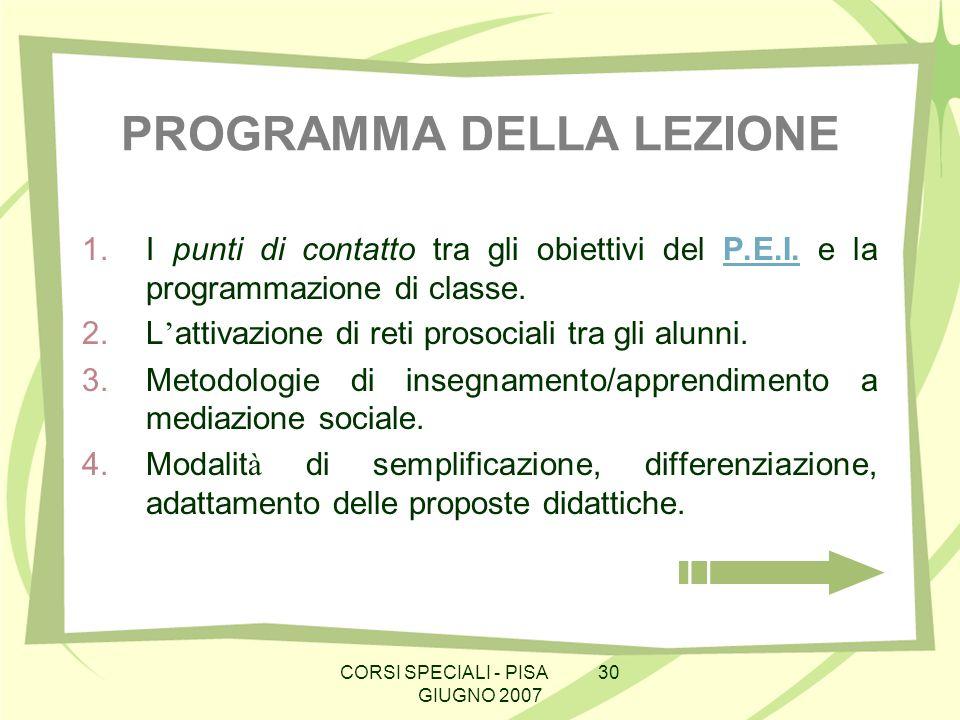 CORSI SPECIALI - PISA 30 GIUGNO 2007 PROGRAMMA DELLA LEZIONE 1.I punti di contatto tra gli obiettivi del P.E.I. e la programmazione di classe.P.E.I. 2