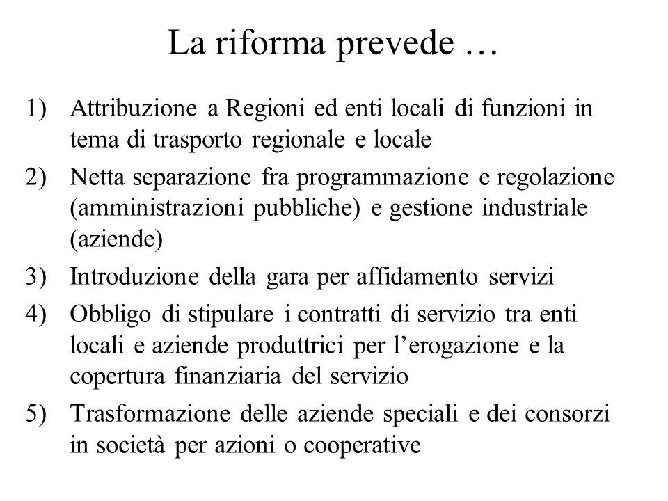 La riforma prevede … 1)Attribuzione a Regioni ed enti locali di funzioni in tema di trasporto regionale e locale 2)Netta separazione fra programmazion