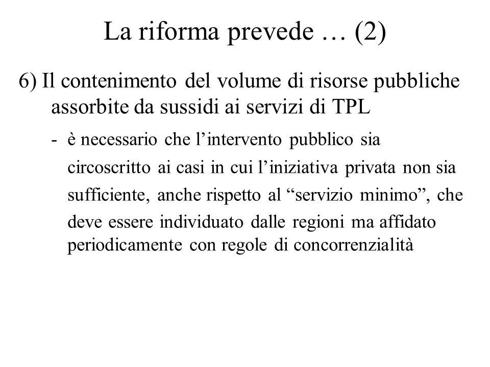 La riforma prevede … (2) 6) Il contenimento del volume di risorse pubbliche assorbite da sussidi ai servizi di TPL - è necessario che lintervento pubb