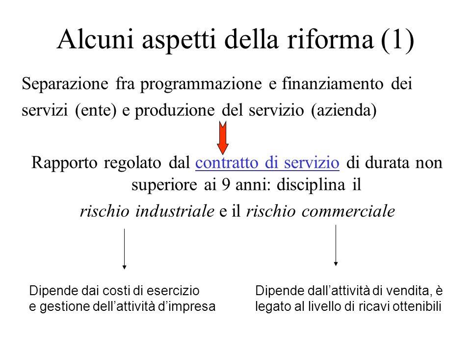 Alcuni aspetti della riforma (1) Separazione fra programmazione e finanziamento dei servizi (ente) e produzione del servizio (azienda) Rapporto regola