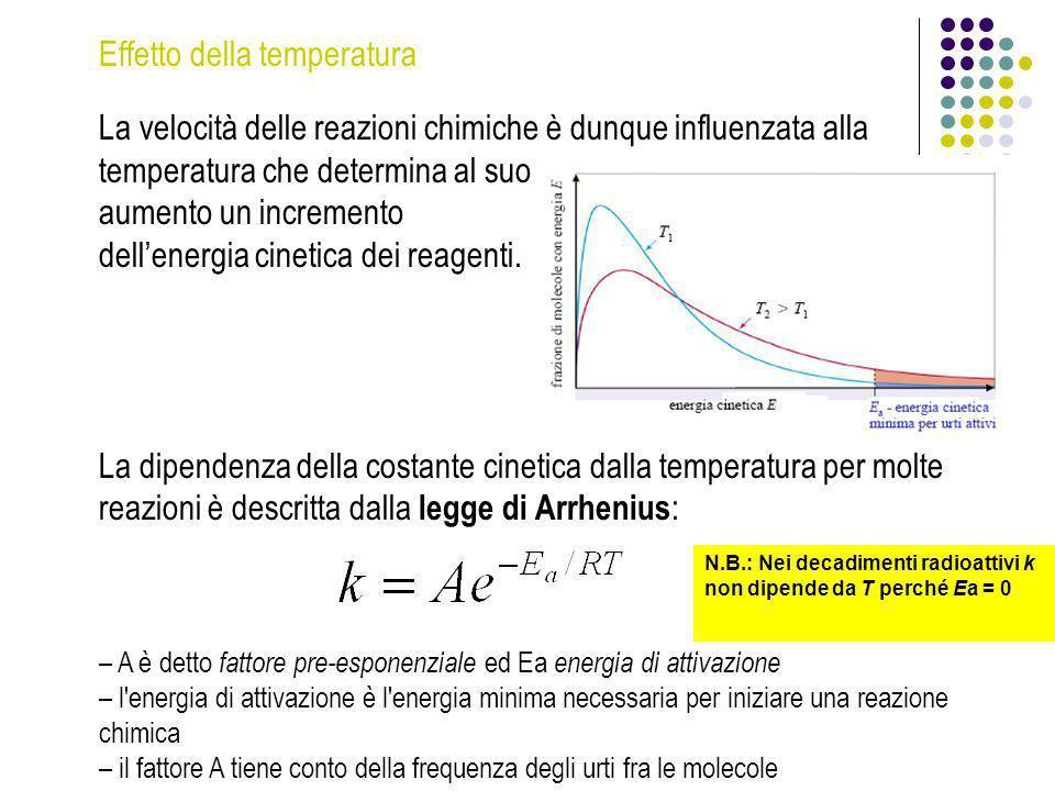 Effetto della temperatura La velocità delle reazioni chimiche è dunque influenzata alla temperatura che determina al suo aumento un incremento dellene