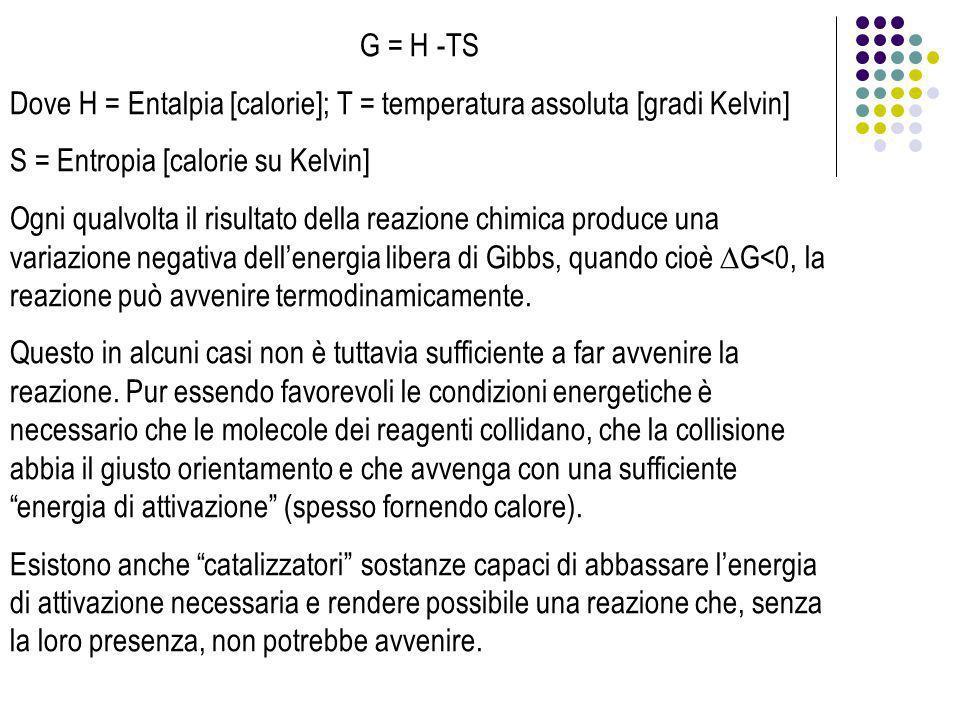 G = H -TS Dove H = Entalpia [calorie]; T = temperatura assoluta [gradi Kelvin] S = Entropia [calorie su Kelvin] Ogni qualvolta il risultato della reaz