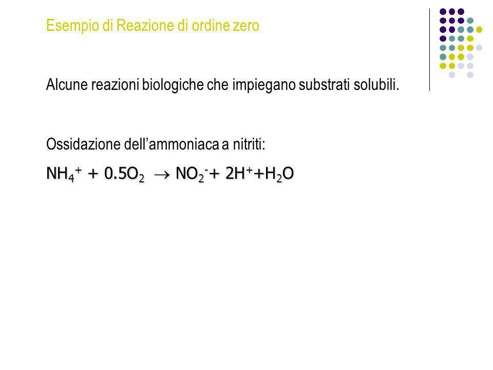 Esempio di Reazione di ordine zero Alcune reazioni biologiche che impiegano substrati solubili. Ossidazione dellammoniaca a nitriti: NH 4 + + 0.5O 2 N
