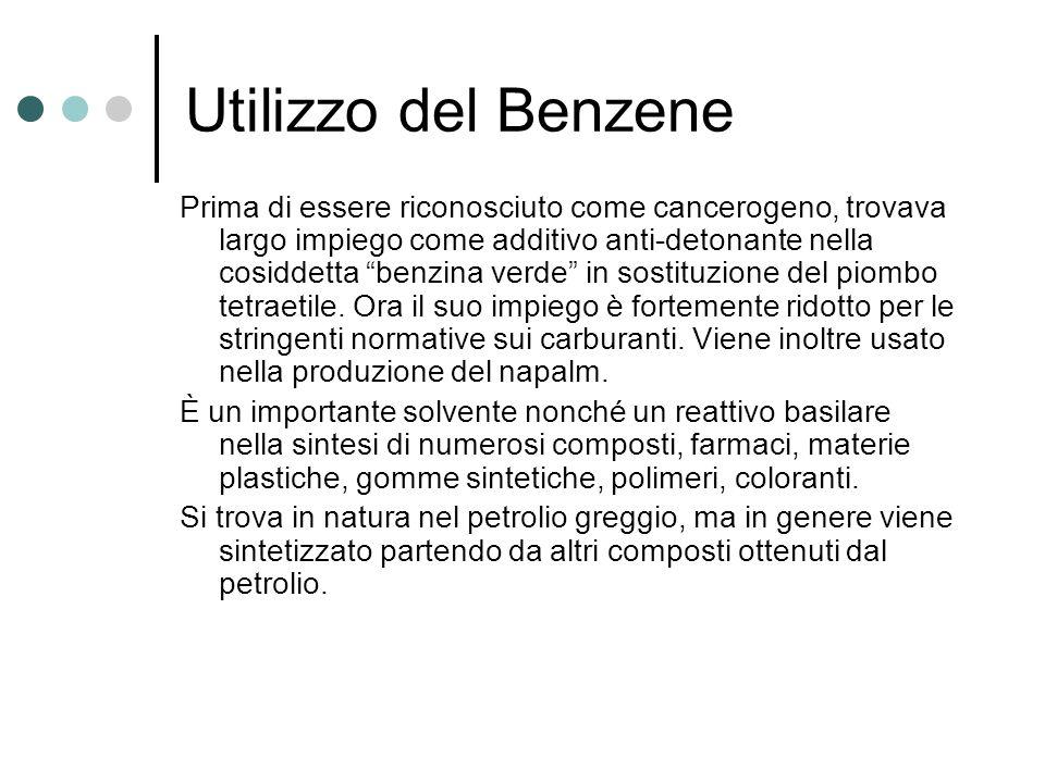Utilizzo del Benzene Prima di essere riconosciuto come cancerogeno, trovava largo impiego come additivo anti-detonante nella cosiddetta benzina verde