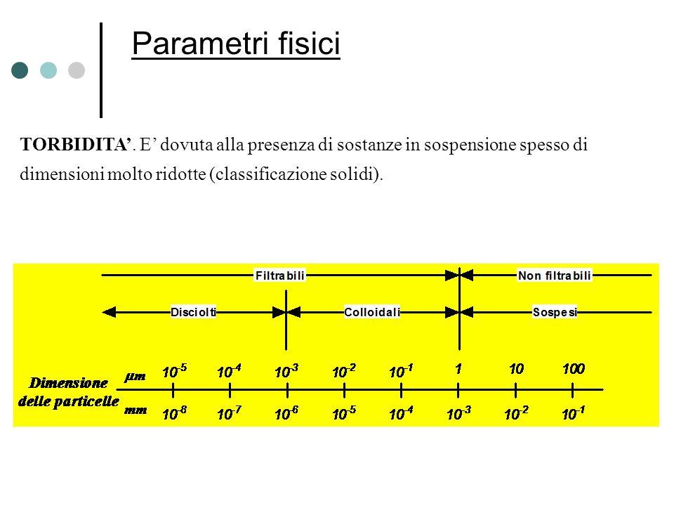 Parametri fisici TORBIDITA. E dovuta alla presenza di sostanze in sospensione spesso di dimensioni molto ridotte (classificazione solidi).