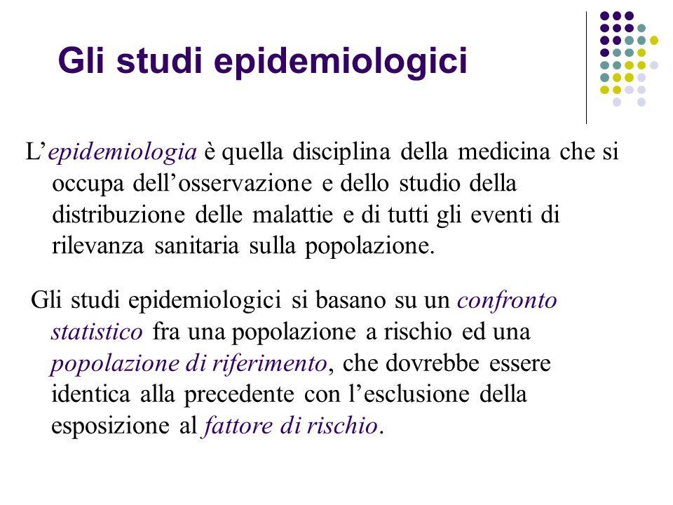 Gli studi epidemiologici Lepidemiologia è quella disciplina della medicina che si occupa dellosservazione e dello studio della distribuzione delle malattie e di tutti gli eventi di rilevanza sanitaria sulla popolazione.