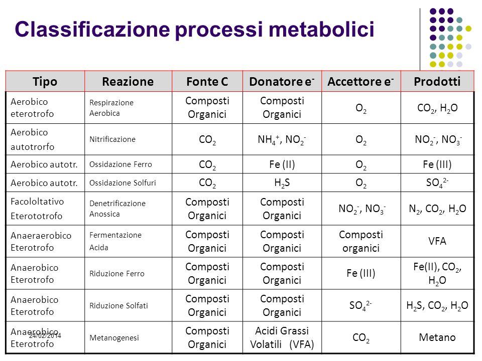 24/02/2014 TipoReazioneFonte CDonatore e - Accettore e - Prodotti Aerobico eterotrofo Respirazione Aerobica Composti Organici O2O2 CO 2, H 2 O Aerobic
