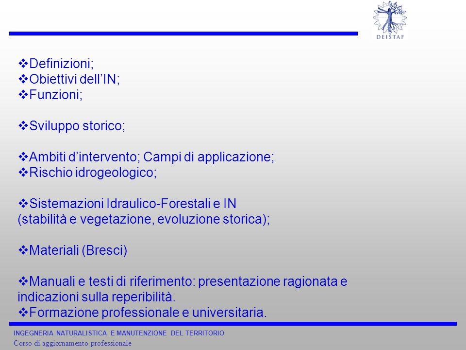 INGEGNERIA NATURALISTICA E MANUTENZIONE DEL TERRITORIO Corso di aggiornamento professionale Definizioni; Obiettivi dellIN; Funzioni; Sviluppo storico;