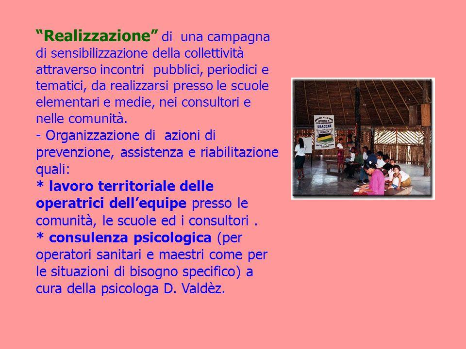 Realizzazione di una campagna di sensibilizzazione della collettività attraverso incontri pubblici, periodici e tematici, da realizzarsi presso le scu