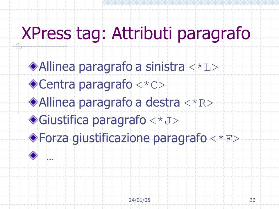 24/01/0532 XPress tag: Attributi paragrafo Allinea paragrafo a sinistra Centra paragrafo Allinea paragrafo a destra Giustifica paragrafo Forza giustif