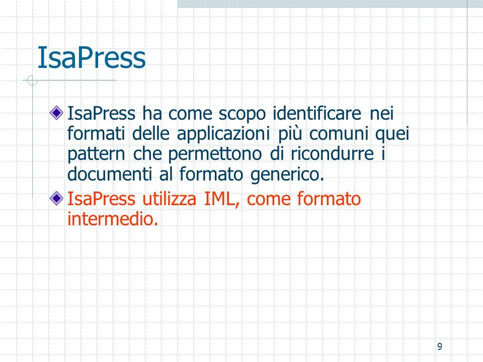 9 IsaPress IsaPress ha come scopo identificare nei formati delle applicazioni più comuni quei pattern che permettono di ricondurre i documenti al formato generico.