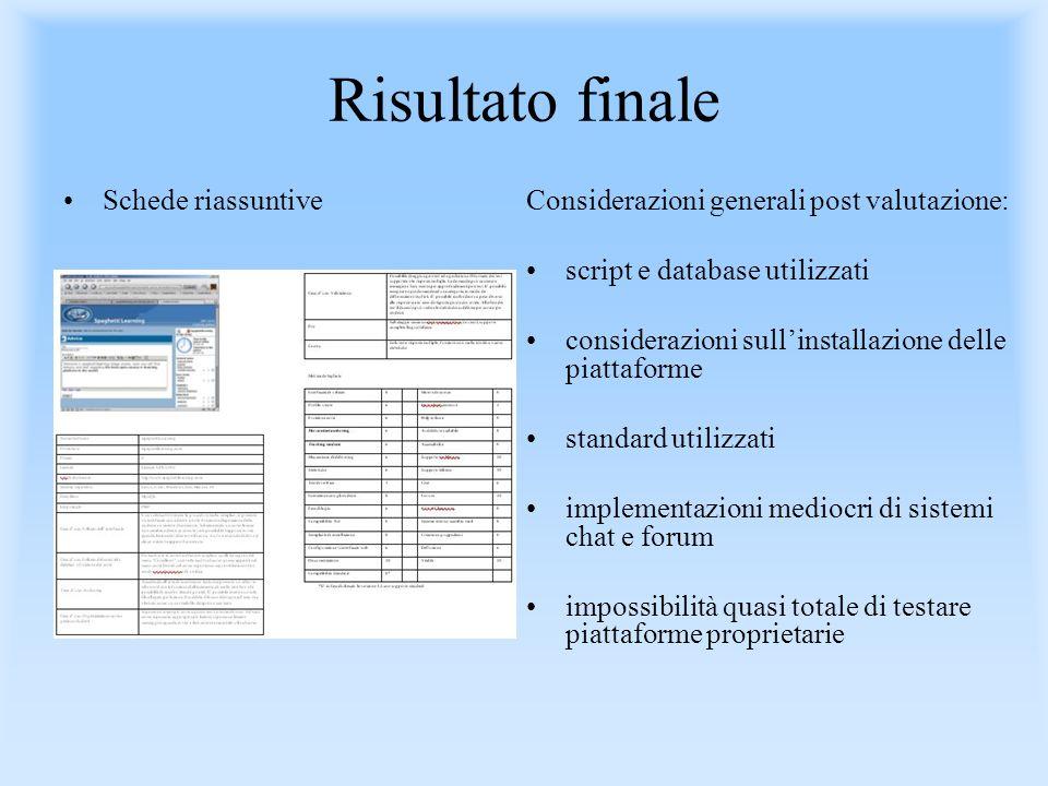 Risultato finale Schede riassuntiveConsiderazioni generali post valutazione: script e database utilizzati considerazioni sullinstallazione delle piatt